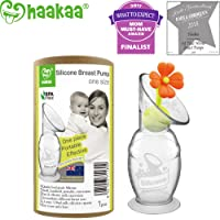 Haakaa Silicone Breast Pump with Suction Base and Flower Stopper 100% Food Grade Silicone BPA PVC and Phthalate Free (5oz/150ml) (Orange)