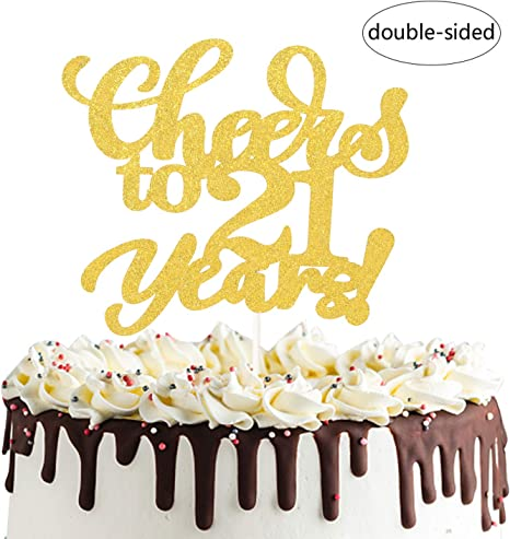 Incredible Amazon Com Cheers To 21 Years Cake Topper Twenty One Years Old Funny Birthday Cards Online Barepcheapnameinfo