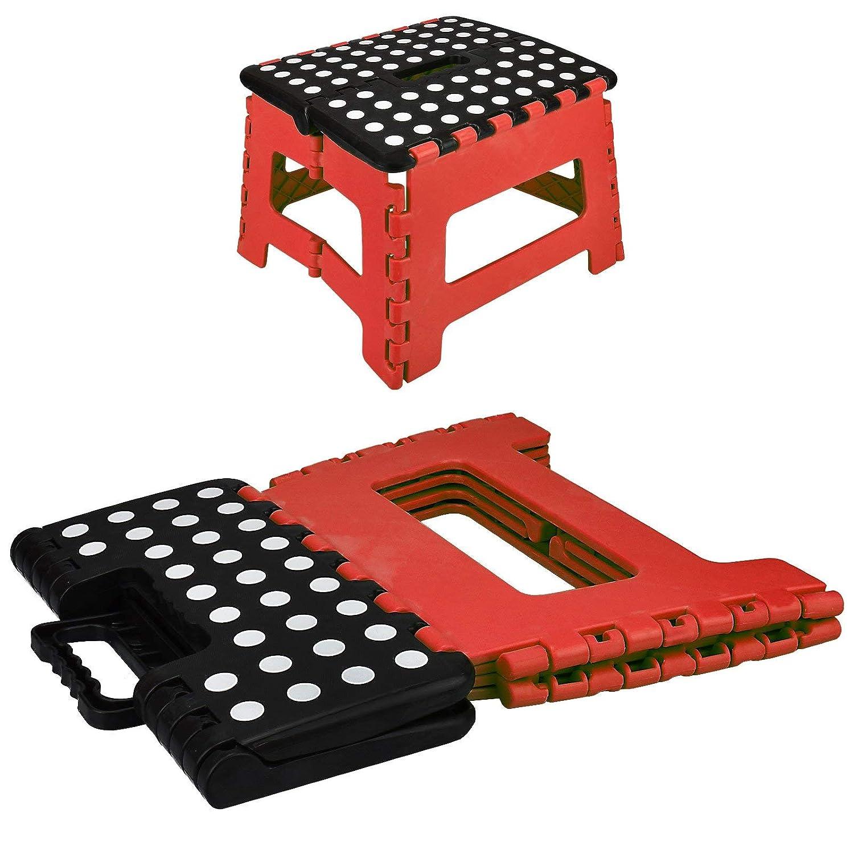Color Negro y Rojo Taburete Plegable tama/ño Mediano ASAB