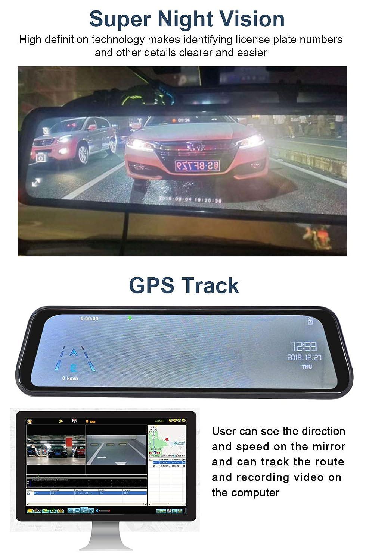 G-Sensor C/ámara De Coche 1080P Full HD Dash cam 9.66 Pantalla t/áctil IPS con 170/° Gran /Ángulo WDR Grabaci/ón en Bucle GPS