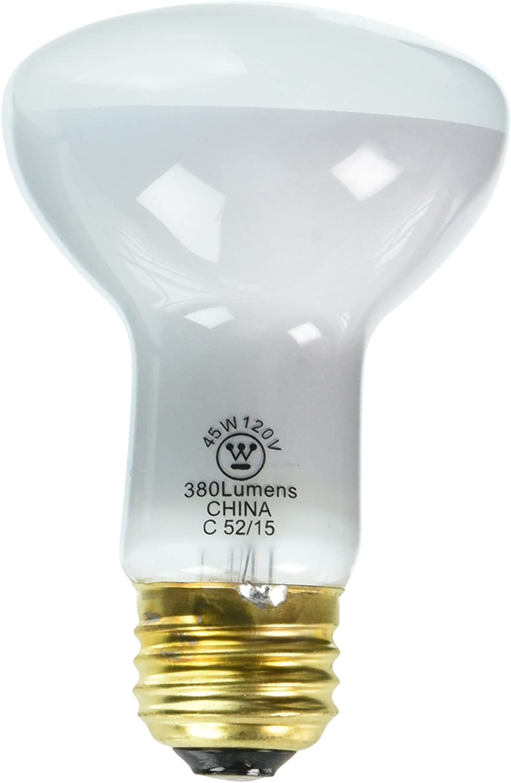 Westinghouse Lighting 0370000, 45 Watt, 120 Volt Frosted Incand R20 Light Bulb, 2000 Hour 380 Lumen,Clear