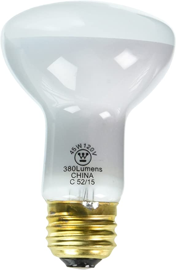 12 Pack 45w 120v Frosted Incand R20 Light Bulb 2000 Hour 380 Lumen, Westinghouse 0370000 45 W