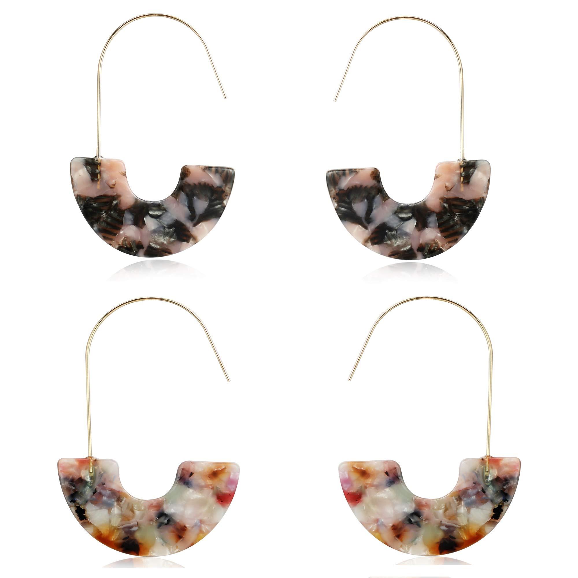 MVCOLEDY Acrylic Earrings Bohemian Style Drop Dangle Earrings Resin Earrings for Women Fashion Jewelry (Floral)