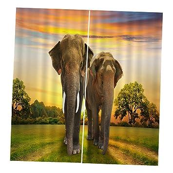 9d894545117 LOVIVER Conjunto de 2 Paneles de Impresión Animal Digital Cortinas Blackout  de Ventana - Parejas de Elefantes, 166x150cm