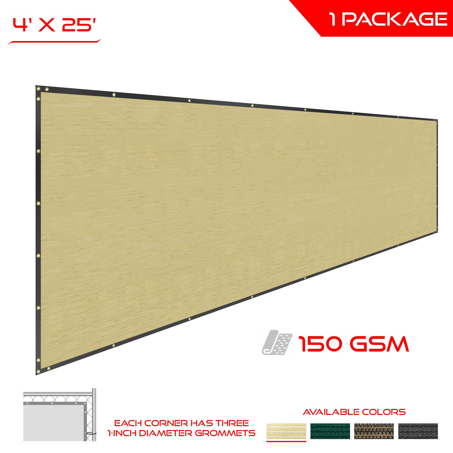 The Patio Shop Privacy Fence Screen 4' x 25' Commercial Outdoor Shade Windscreen Mesh Fabric with brass Gromment 150 GSM 88% Blockage in color Beige-2 Years Warranty