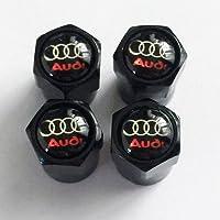 3rd AUD Noir Brillant Logo Noir poussière Bouchons de Valve. A3A4A5A6TT RS Quattro Q3Q5Q7Avant Turbo Allroad E-tron A8RS4R8RS6RS8A1Q2
