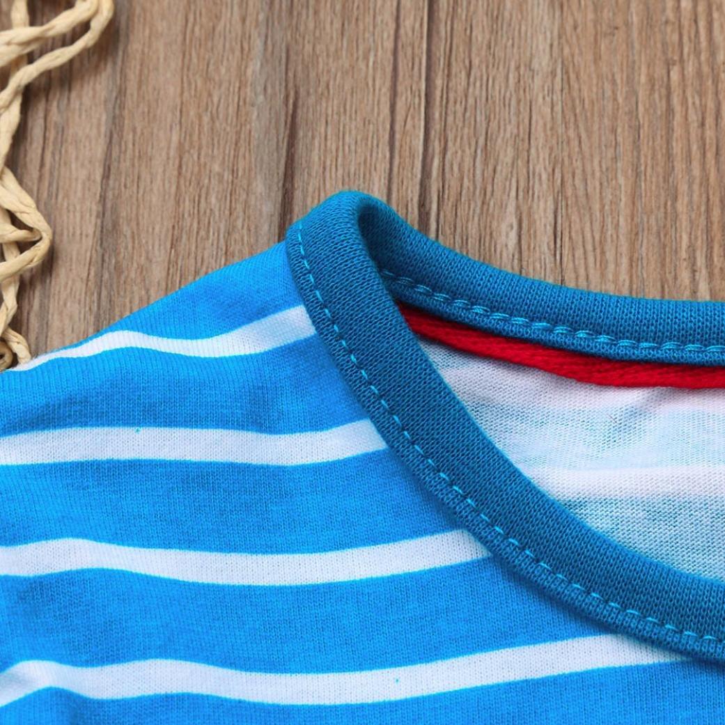 BANG Toddler Baby Girl Kid Spring Clothes Stripe Cartoon Print Casual Dress
