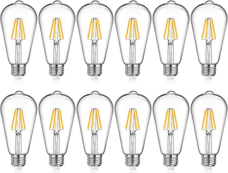 Amazon Com Led Edison Bulb Dimmable Warm White 2700k 40w Equivalent 4w St64 Vintage Led Filament Light Bulbs E26 Medium Base Pack Of 12 Home Improvement