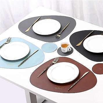 Eyands Lot de 4 Sets de Table et Dessous de Verre en Cuir color/és Isolation Thermique Antid/érapants Imperm/éables Lavables en Cuir Bleu