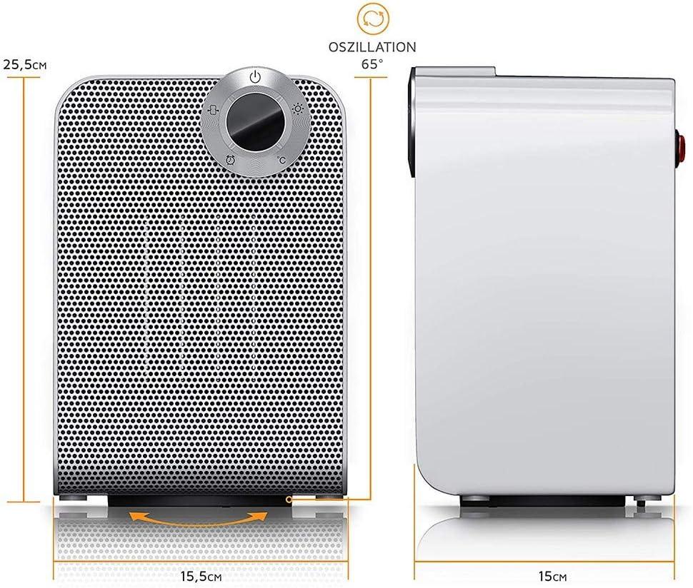 Mini ventilador calentador,Smart Space Heater,Calentadores el/éctricos port/átiles ,on pantalla digital con temporizador ajustable para el hogar y la oficina Blanco