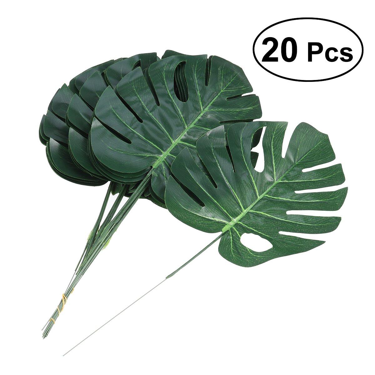 Tinksky 20 pcsハワイアンルアウパーティージャングルビーチテーマパーティーデコレーショングリーンシミュレーション花人工植物フェイクMonstera葉ホーム装飾 B07C8LLFDP