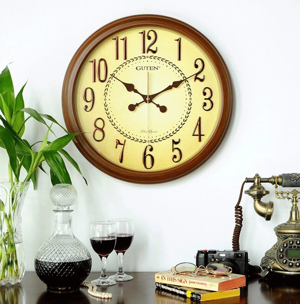 TXXM ミュートオフィスのベッドルームシンプルな時計パーソナリティクリエイティブテーブルリビングルームレトロラウンドクォーツ時計 B07F9ZN6FZ