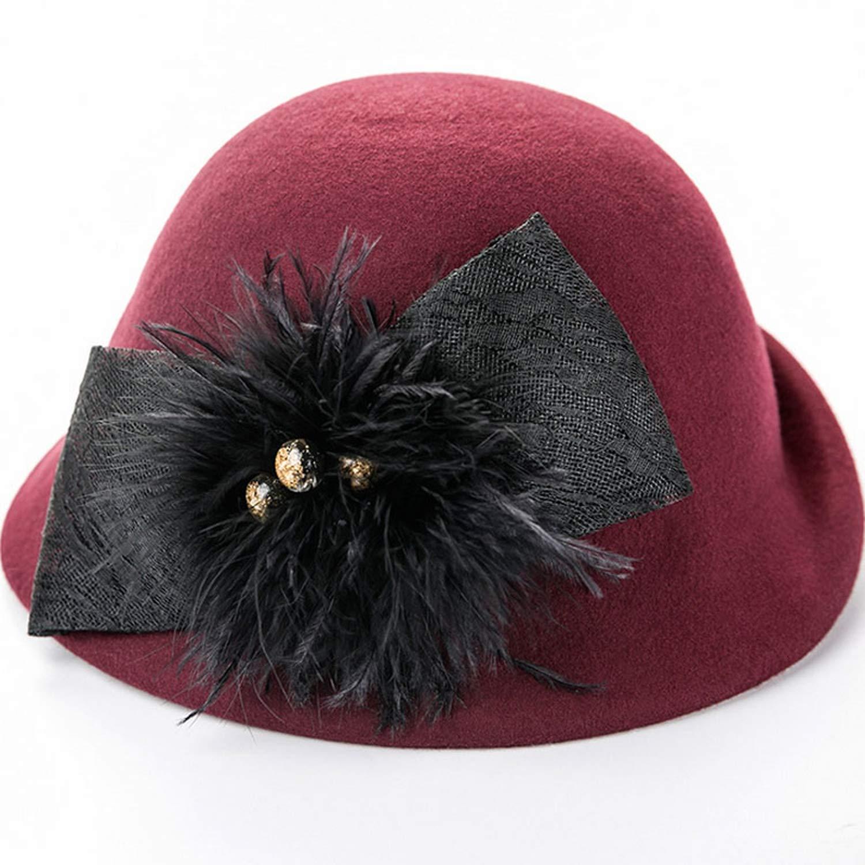 DOSOMI Women Winter 100/% Wool Fedoras Felt Cloche Hat Elegant Bow Women Church Hats Bowler Cap