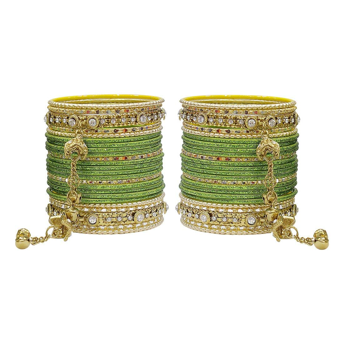 MUCH MORE Royal Dangle Look Charm,ing Bangles Set for Women