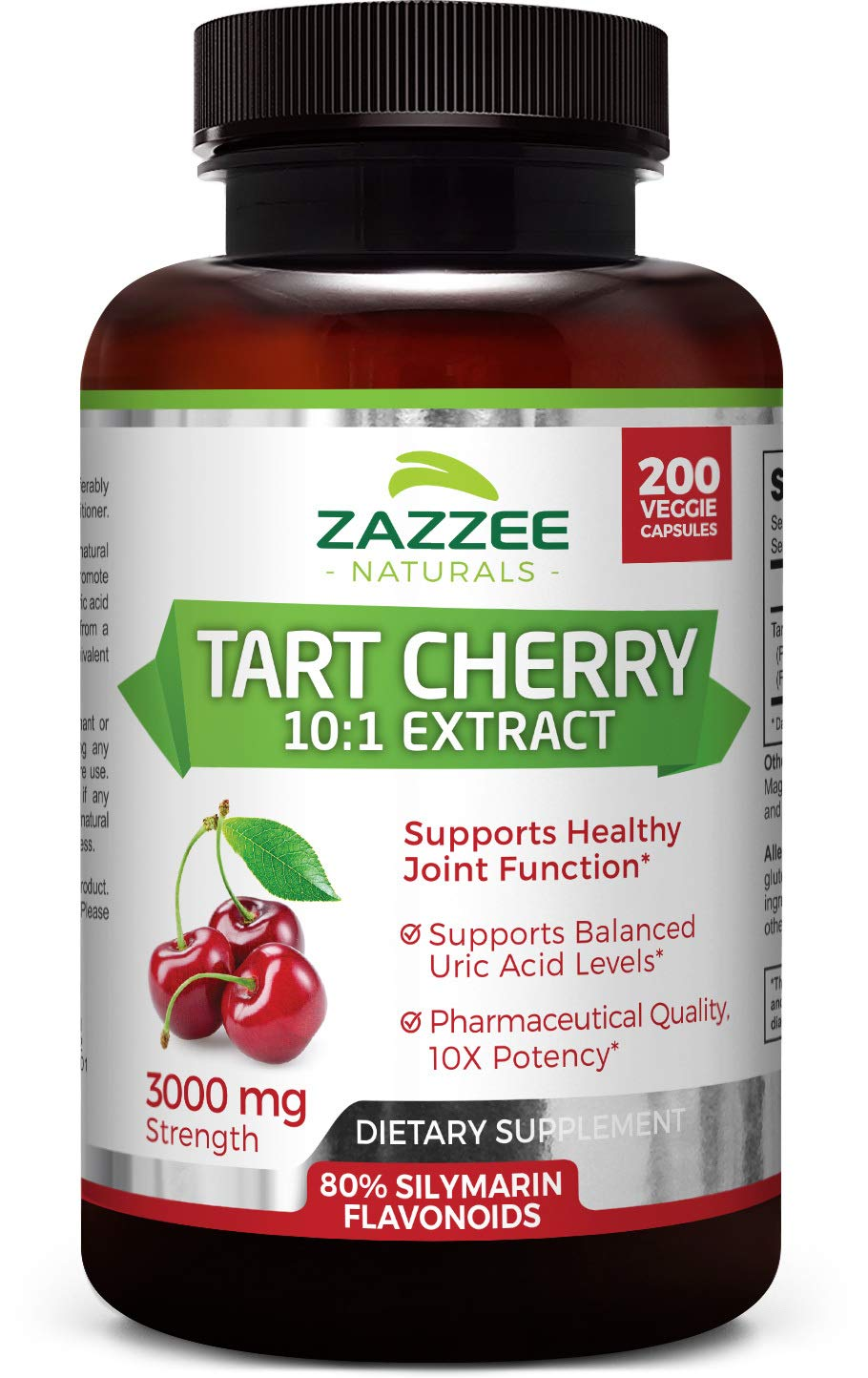 Zazzee Tart Cherry Extract Capsules, 200 Count, 3000 mg Strength, Potent 10:1 Extract, Over 6-Month Supply, Vegan, Non-GMO and All-Natural by Zazzee