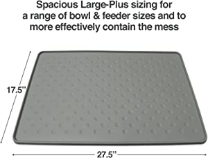 PetFusion ToughGrip Large Plus Dog Food Mat [Just The Right Size Before Getting Too Big @ 27x17]. Waterproof, Extra Tough FDA Grade Silicone