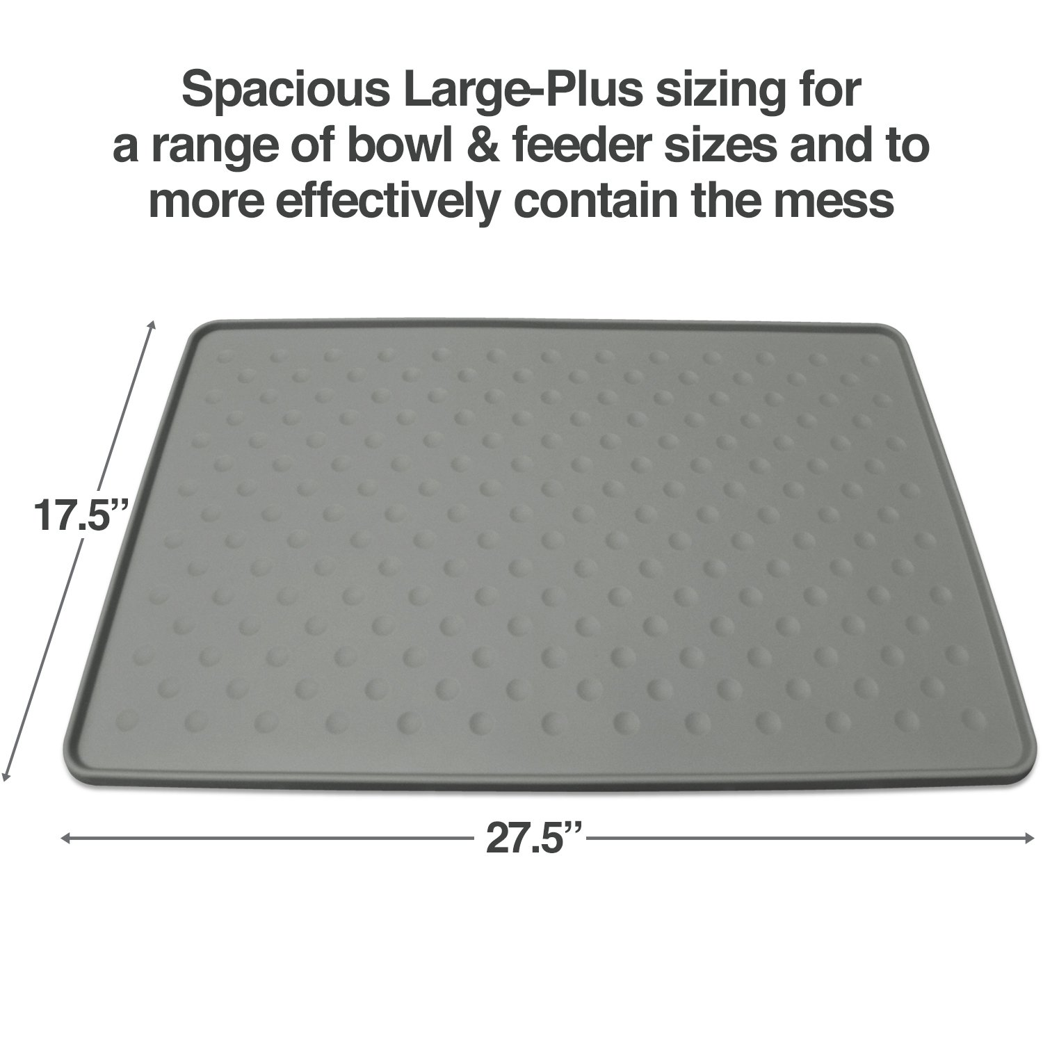 PetFusion Extra Large Dog Food Mat (New - ToughGrip). Waterproof pet placemat for Floors (27x17, Gray). FDA Grade Silicone [Superior Hygiene, Non-Toxic]