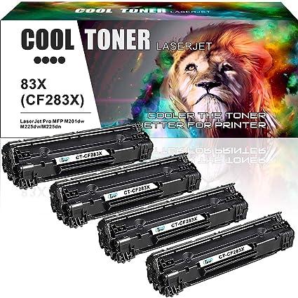 Pack de 4 Cool Toner Compatible CF283X 83X Reemplazo para HP CF283A 83A(2400 Páginas) HP LaserJet Pro MFP M225dn M225dw M201n M201dw M202n M202dw ...