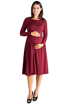 71a76bafb3c 24seven Comfort Apparel Maternity Clothes for Women Long Sleeve Fit and  Flare Midi Dress Pockets -