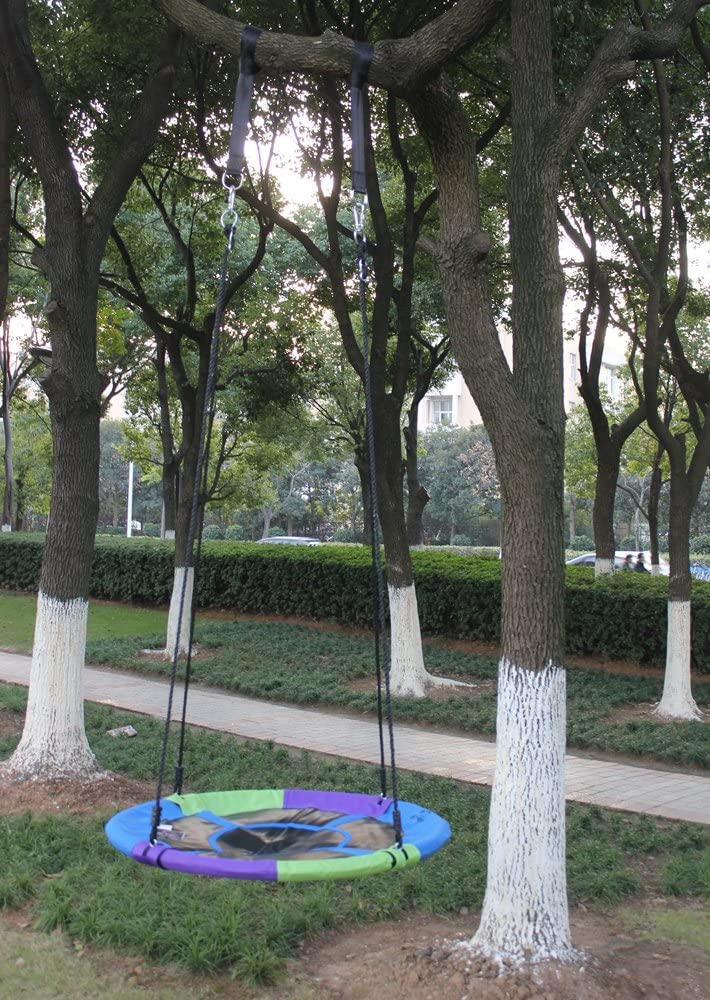Hi Suyi 100cm//40inch Disc Giant Nest Web Rope Hanging Tree Swing Seat Set Heavy Duty Easy to Set Up for Kids Children Adult Outdoor Backyard Garden Large Size