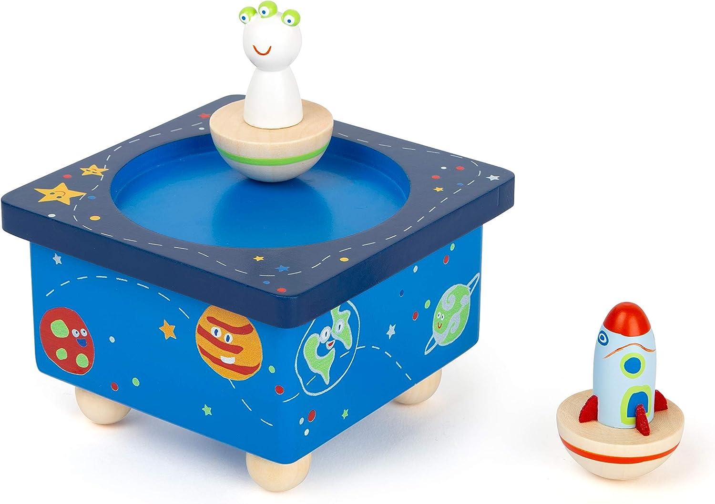 11449 Caja de música Space, Small Foot, de Madera, con función de imán y música: Amazon.es: Juguetes y juegos