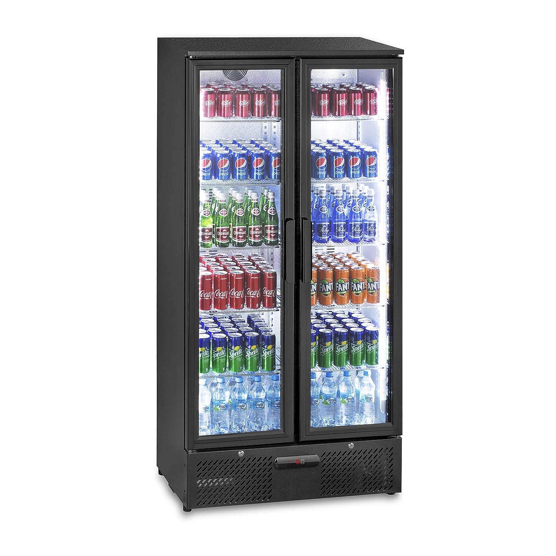 Royal Catering RCGK-458C Nevera Expositora de Bebidas Frigorifico Botellas Nevera para Bebidas Refrigerador Negro 458 L, 2/–10 /°C, 295 W, 90x55,5x181,5 cm