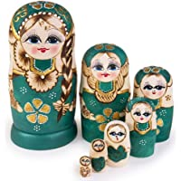 Jeccffes Russian Nesting Dolls Matryoshka Wooden Stacking Nested Set 7 Pieces Handmade Toys for Kids Children Christmas Mother's Day Birthday Home Room Decoration