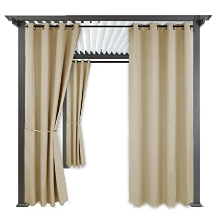 outdoor indoor patio curtain drape ryb home mildew resistant water wind repellent durable silver - Patio Curtains
