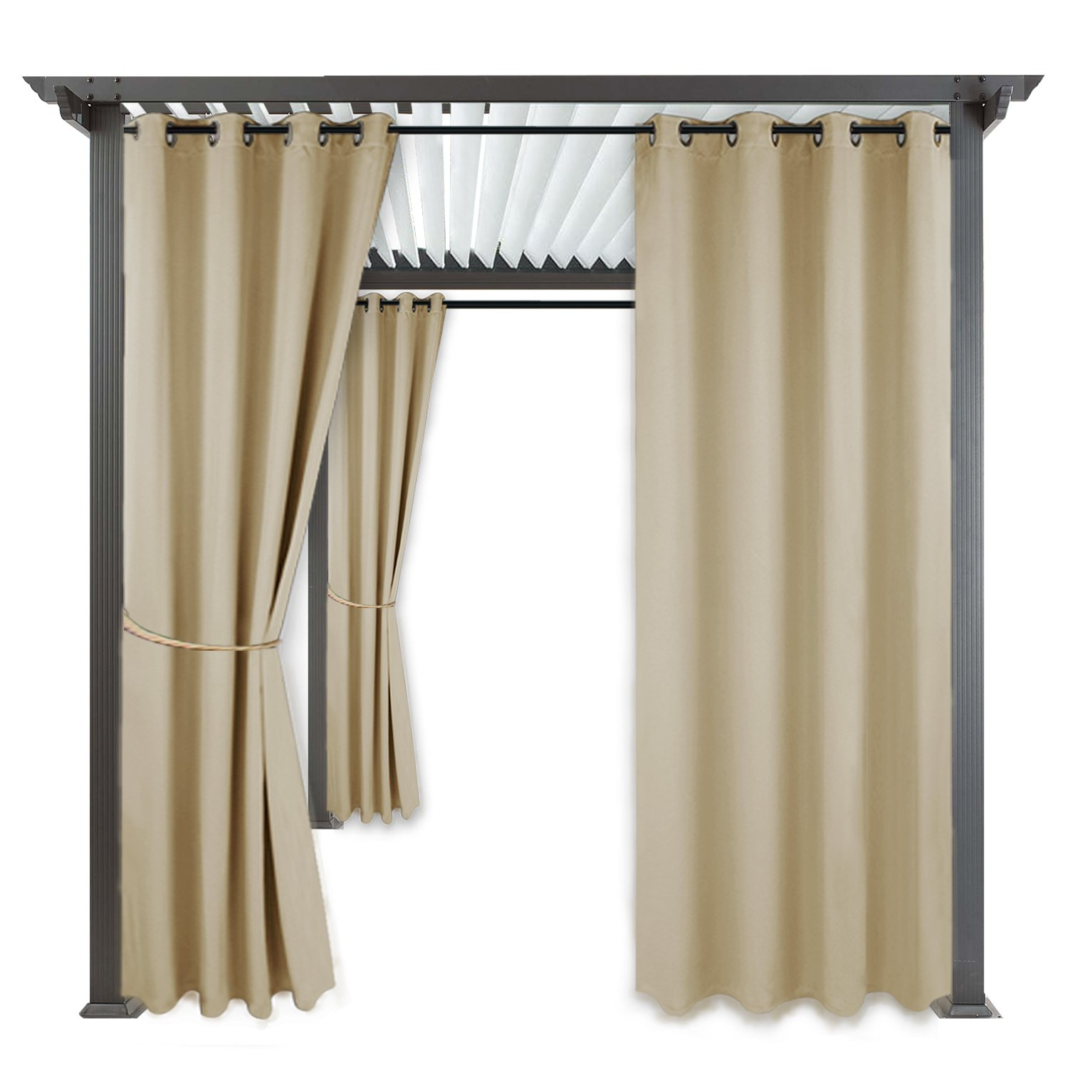 RYB HOME Outdoor Curtain Shades - Blackout Curtain Blind Indoor Outdoor Décor Top Grommet Rust Proof Water & Wind Repellent for Patio/Gazebo / Deck, 1 Panel, Width 52'' x Length 84'', Cream Beige