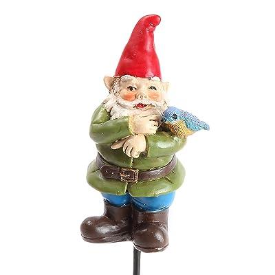 """Sherman the Gnome w/ Bluebird MIniature Fairy Garden Pick - 4.25"""" : Garden & Outdoor"""