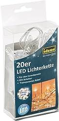 Idena LED Lichterkette 20-er, mit Schalter, für Innen, Länge 3,40 m, warm weiß, 31117