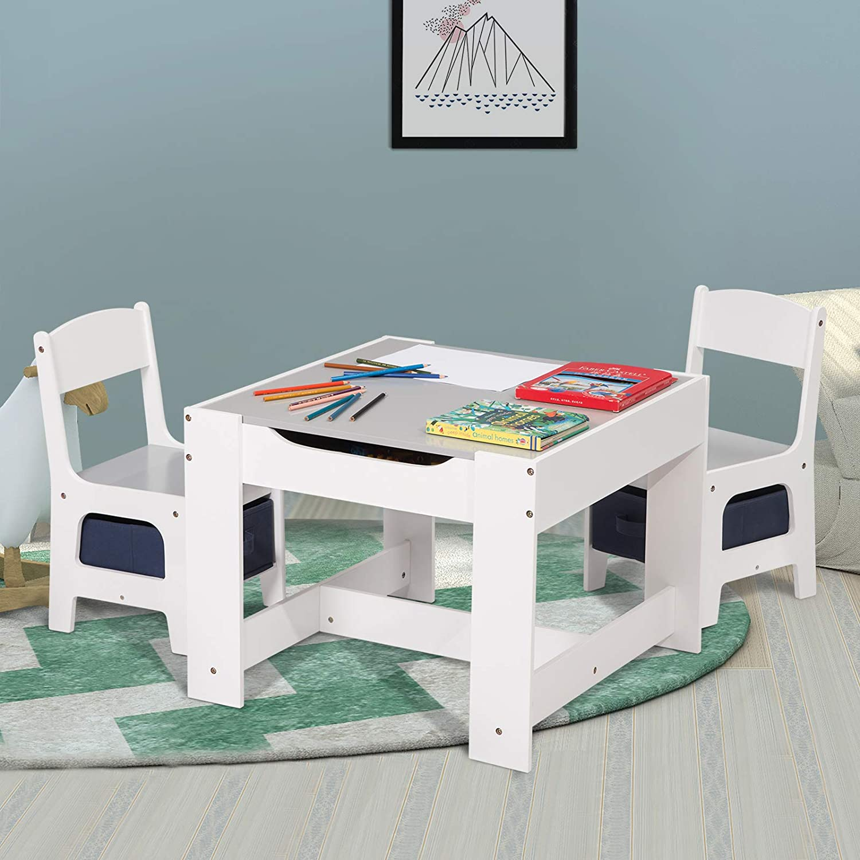 eSituro SCTS0004 Ensemble de table et chaises pour enfant Set 1 table et 2 chaises en MDF robuste avec tiroir de rangement blanc+gris