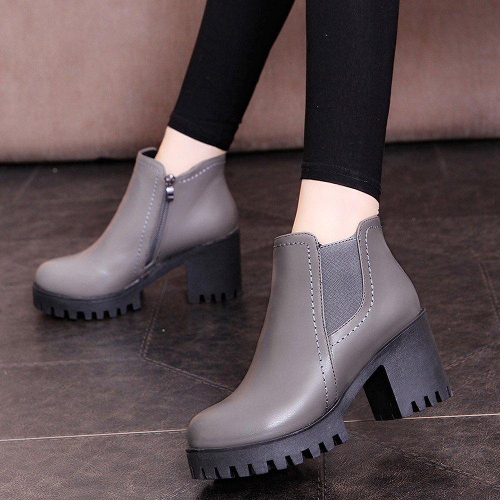 384fa7c8159a Stiefel Damen, LANSKIRT Stiefeletten Plateau Boots mit Blockabsatz  Profilsohle Kurzschaft Stiefel