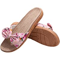 xsby Womens Cozy Indoor Cotton Flax Home Slippers Non-Slip Casual Sandals