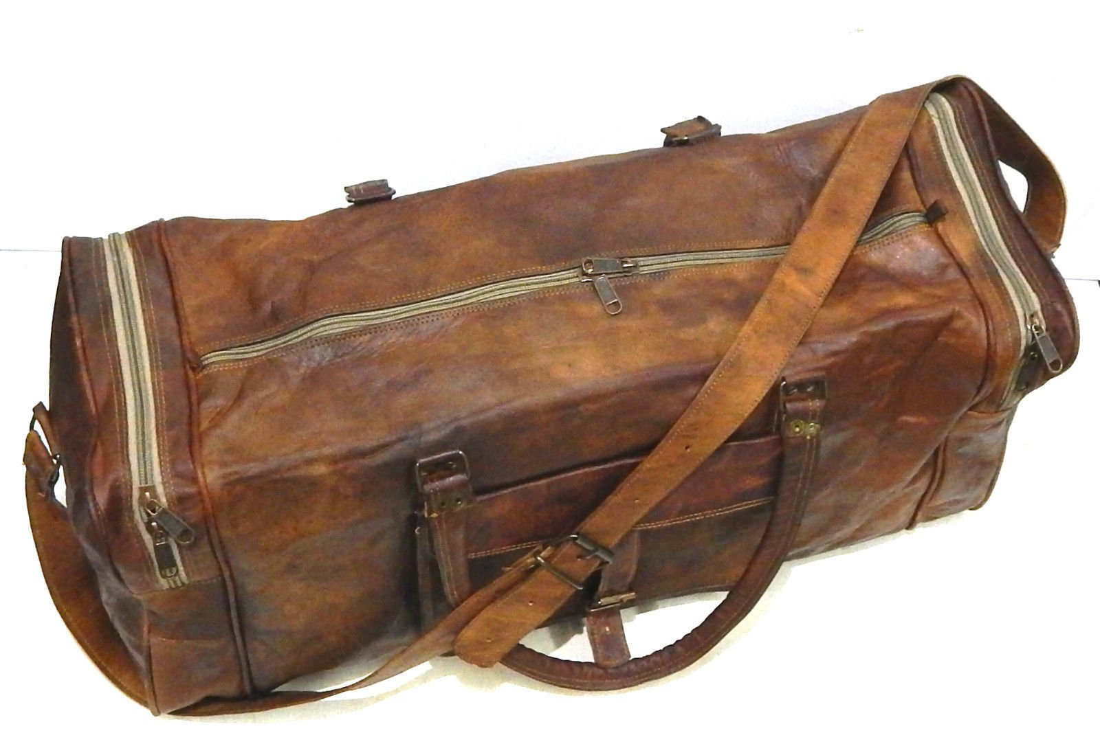 Firu-Handmade 24'' Vintage Style Leather Brown Duffel Gym Sports Luggage Bag Handmade by Firu-Handmade (Image #3)