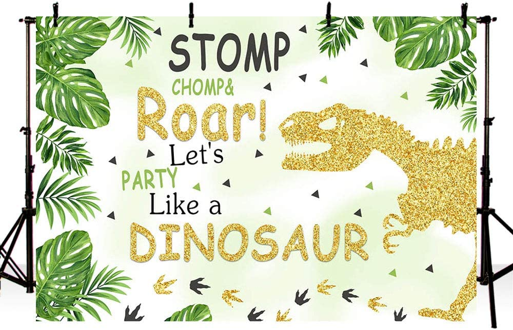 New Dinosaurs Boy Birthday Photo Studio Background Safari Jungle Wild Green Palm Leaves Happy Birthday Party Decoration Banner Backdrop for Photography 7x5ft