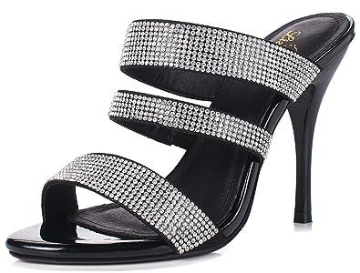 60ed7f75f1a0 LizForm Women Sparkle Heeled Sandals Open Toe Evening Shoes Strappy Dress  Heels Black 3