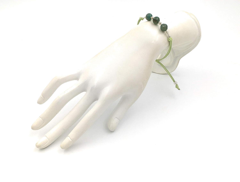 Fait /à la Main par Nauta perles /à facettes de 8 mm Bracelet en argent et agate vert vein/ée