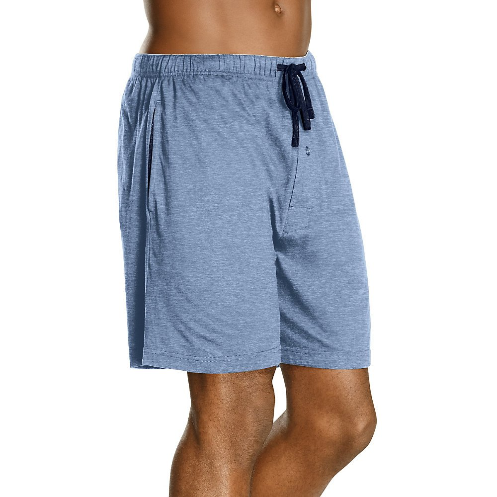 Hanes Mens Jersey Lounge Drawstring Shorts With Logo Waistband, Champbre Blue Heather/Blue Depth, Pack 2á 40129-Small