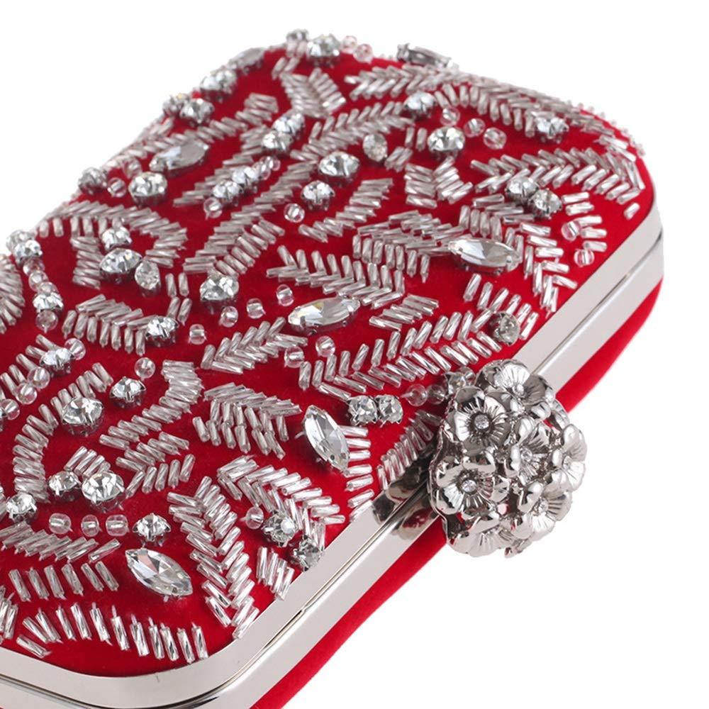 Handtasche für Frauen Damen Flanell Perlen geometrische Abendtasche Strass Persönlichkeit lässig Bankett Tasche Clutch Bag MJZHXM (Farbe : Red) Blue
