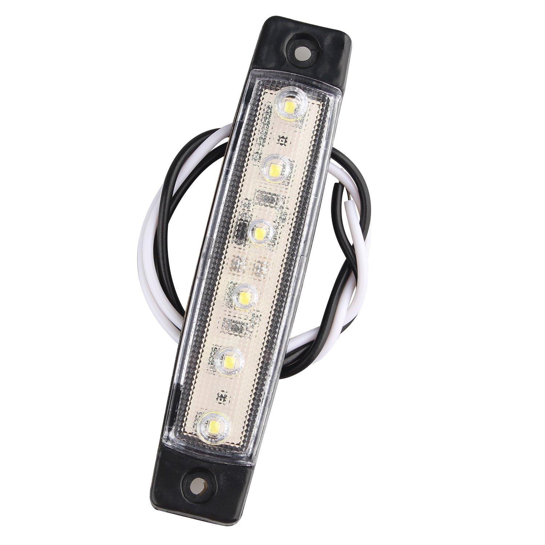 Fushengda 10PCS 6SMD LED bianco 12/V indicatori laterali luci anteriori posteriori indicatori di luce luci di posizione laterali per camion caravan camper barca trattore Bus camion camper