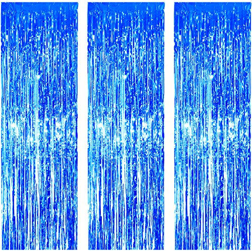 JVIGUE 3 Pack Foil Curtains Metallic Foil Fringe Curtain for Birthday Party Photo Backdrop Wedding Event Decor (Blue) -