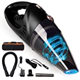 GNG Handheld Vacuum Cleaner 12v Portable Cordless Vacuum with Car & Wall Rechargeable Lithium-ion, Black Detailing…