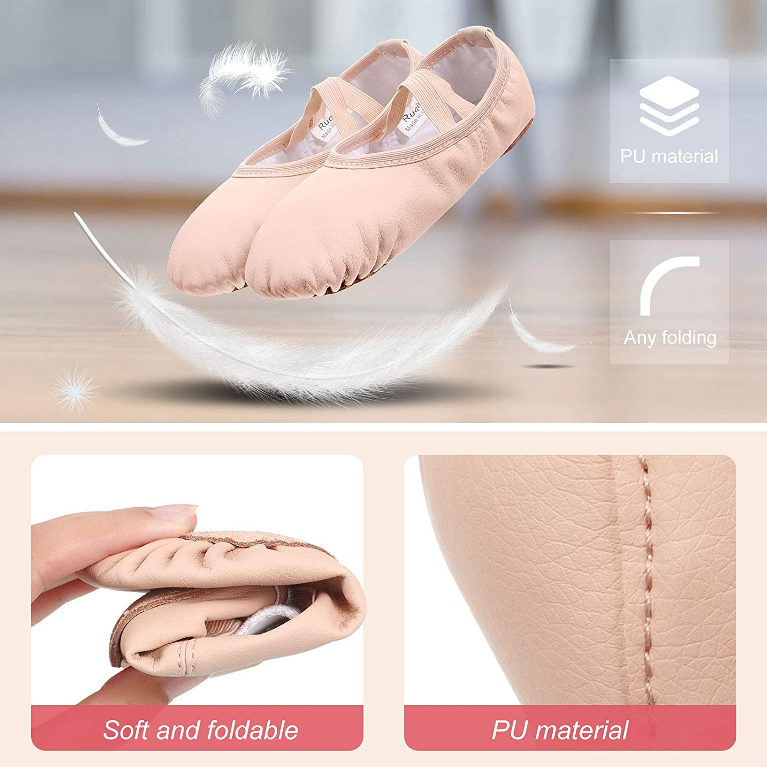 3 Pairs Girls Ballet Practice Shoes Ballet Shoe Yoga Shoes 3 Colors Ballet Slippers Flats for Toddler Kids Dancing