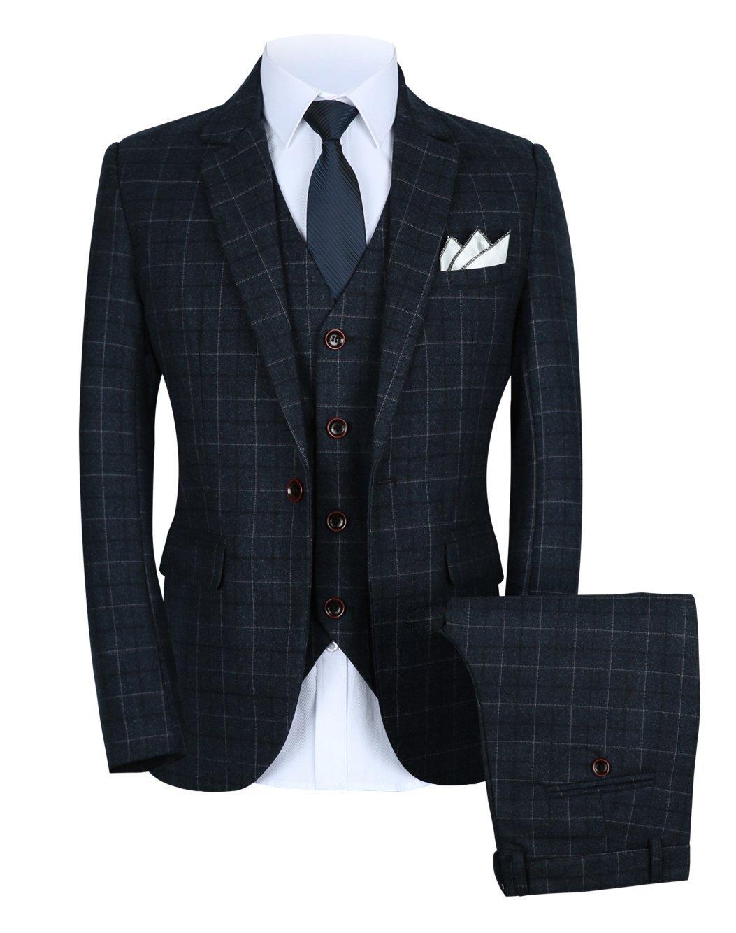 Mens One Button Slim Fit Plaid Suit Blazer+Vest+Pants US Size 36 (Lable 2XL) Gray by MOGU