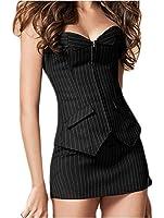 Sunnior–Corsetto sexy intimo abito a strisce verticali, corsetto bustino con minigonna e perizoma, nero