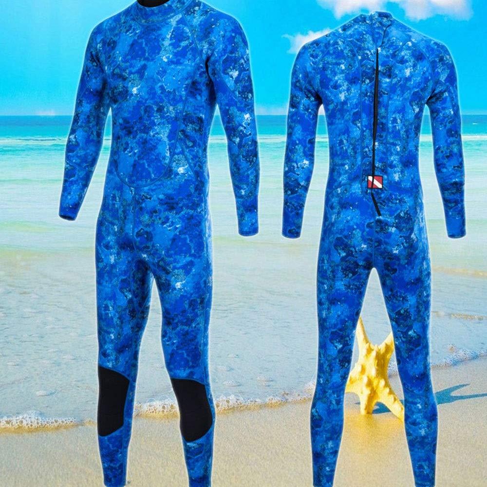 RAIIKKU 迷彩3ミリメートルダイビングスーツ暖かい冬の水泳結合長袖水着肥厚男性クラゲ服男性と女性の3ミリメートルフラットロック付き超弾性 (色 : ブルー, サイズ : S) Small ブルー B07R715WRL