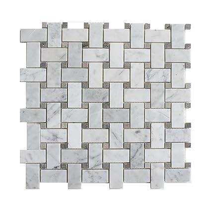 Carrara White Marble Mosaic Tile CWMMWEAGP Chip Size X - Carrara basketweave tile gray dot