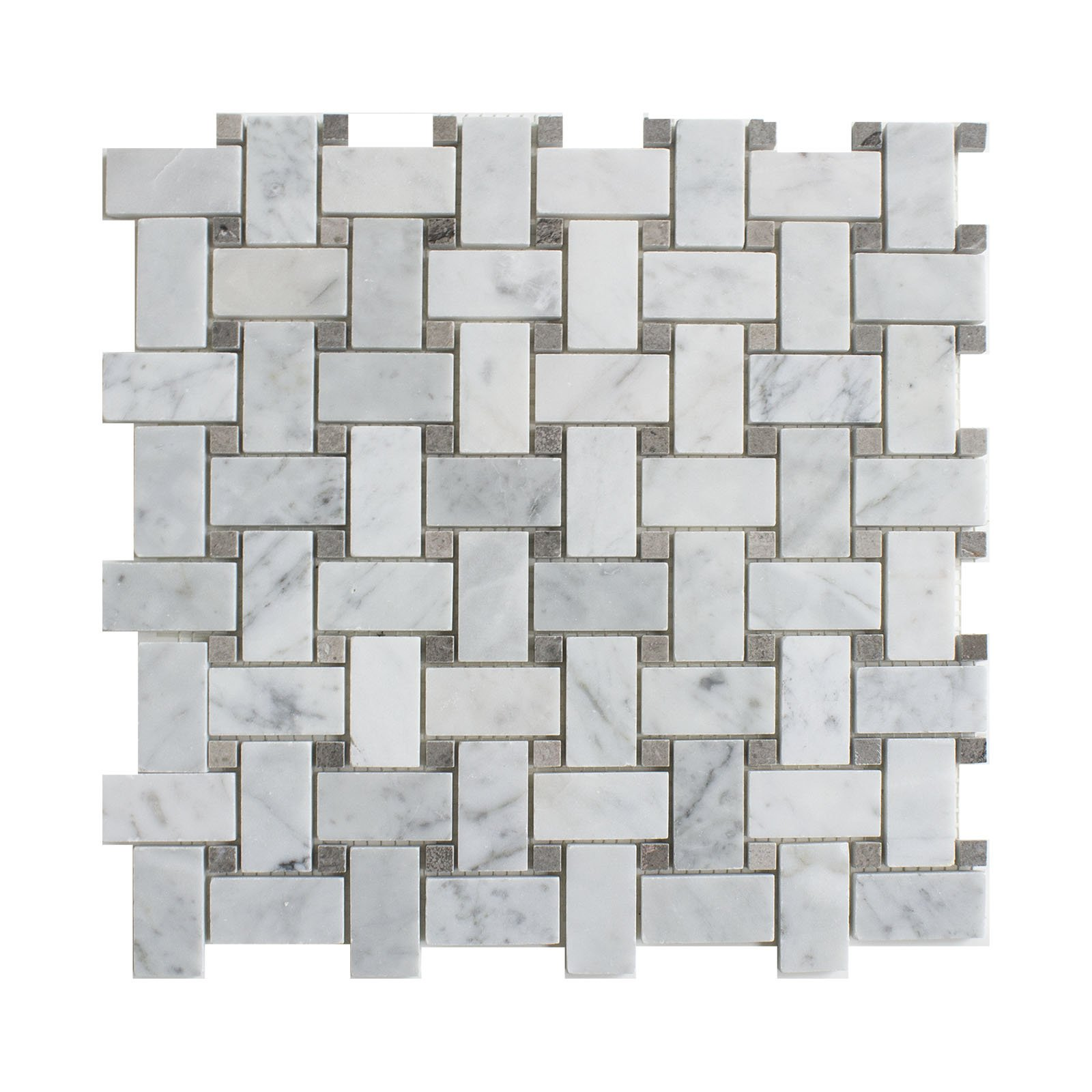 Carrara White Marble Mosaic Tile, CWMM1WEA+G-P, Chip Size 1''X2'' Basketweave with Grey Dot, 12''X12''X5/16, Polished (Box of 5 Sheets)
