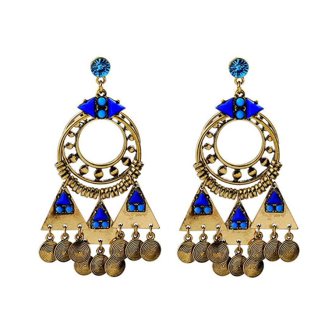 ball earrings|clip on earrings|ear cuffs|dangle earrings|earring jackets|hoop earrings|stud earrings|European and American trends ladies Earrings retro folk earrings deep blue pendants